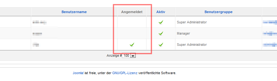 Benutzerverwaltung in Joomla! 1.5 - Onlinestatus