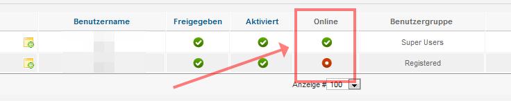 Benutzerverwaltung in Joomla! 2.5 - Onlinestatus