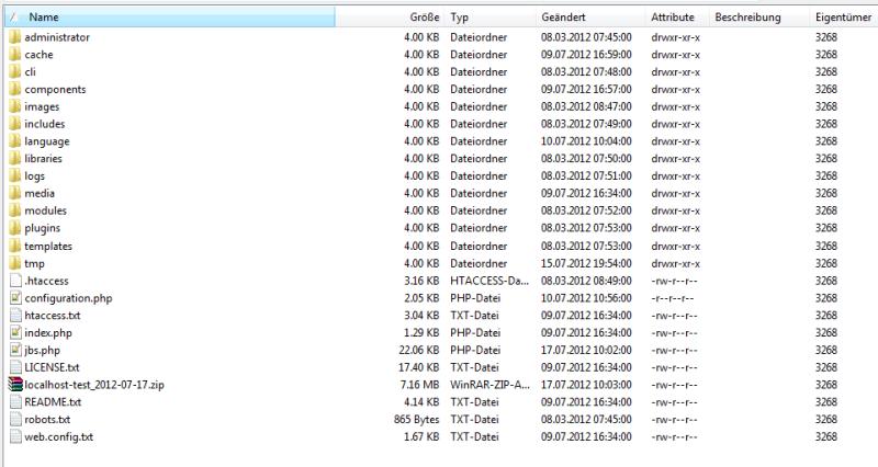 Backup Skript und erstelltes Archiv im Rootverzeichnis