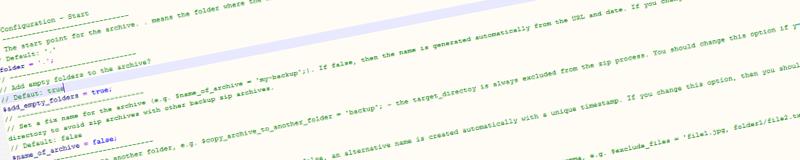 Einstellungen des Backup Skripts
