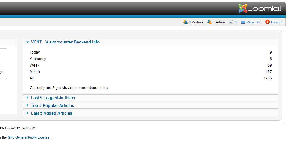 Visitorcounter Backend Info - Screenshot